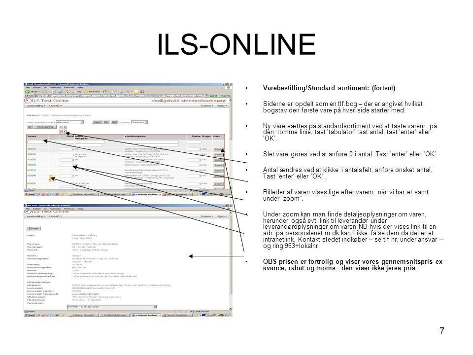 ILS-ONLINE Varebestilling/Standard sortiment: (fortsat)