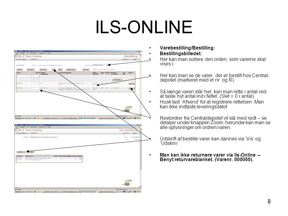 ILS-ONLINE Varebestilling/Bestilling: Bestillingsbilledet: