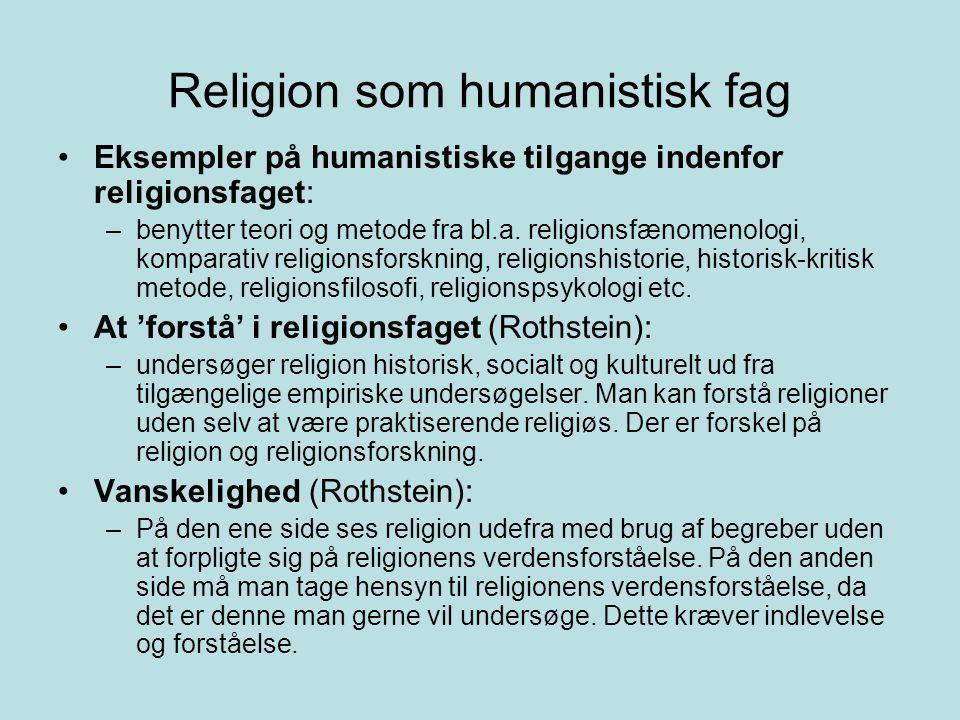 Religion som humanistisk fag
