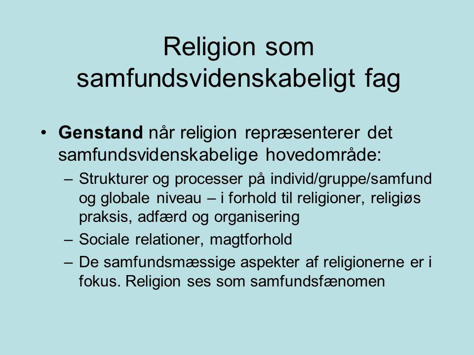 Religion som samfundsvidenskabeligt fag