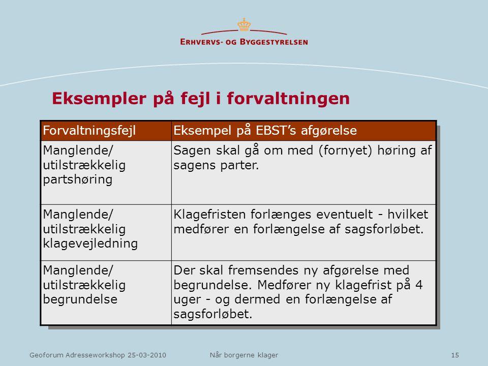 Eksempler på fejl i forvaltningen