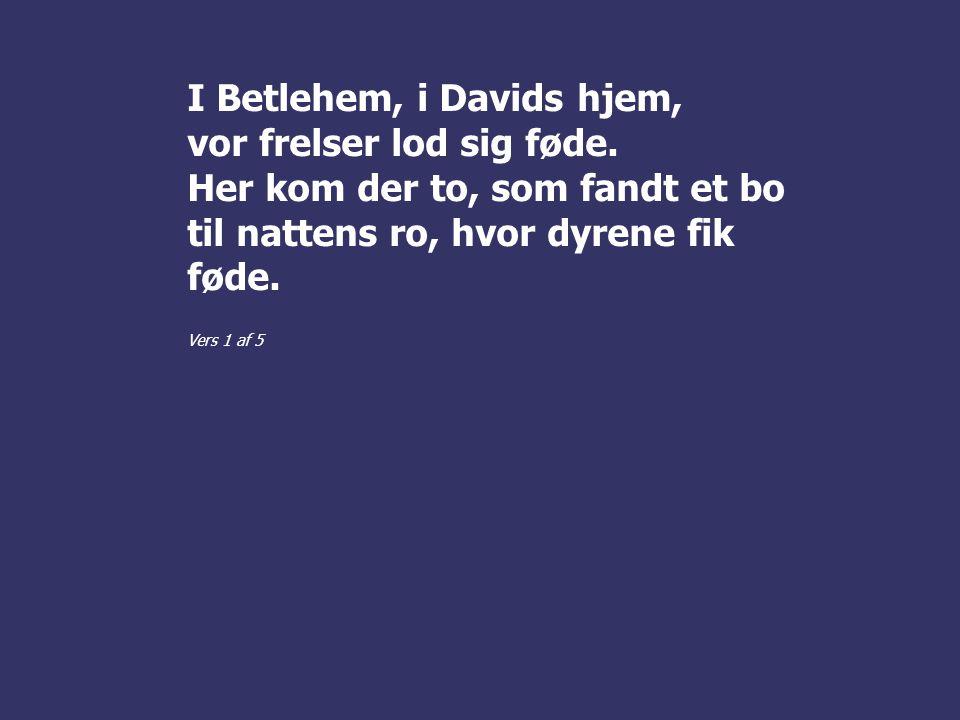 I Betlehem, i Davids hjem, vor frelser lod sig føde.