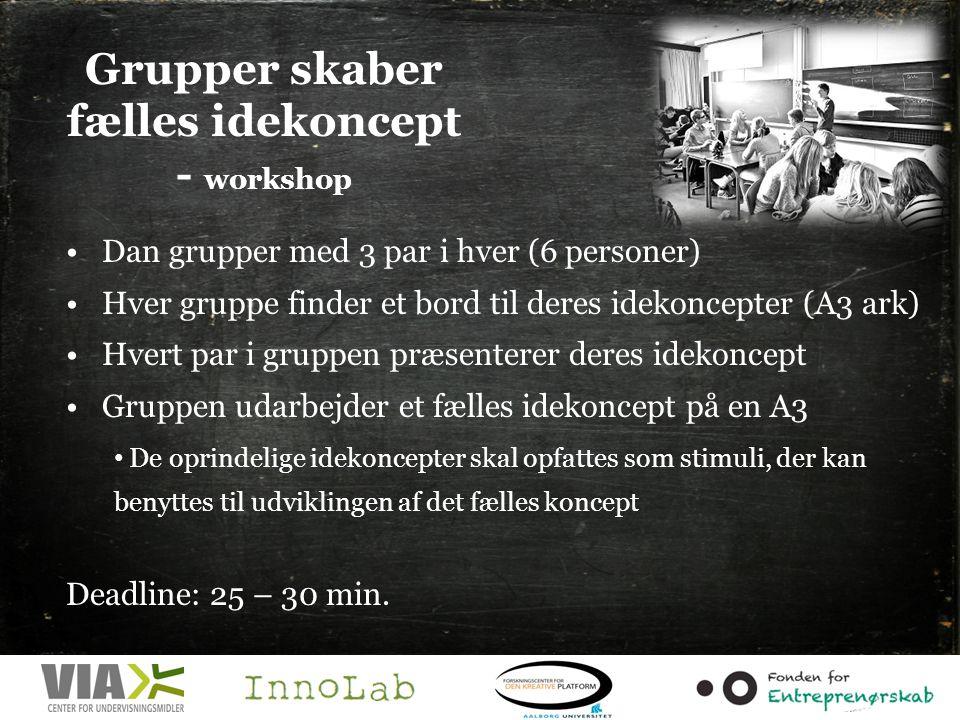 Grupper skaber fælles idekoncept - workshop