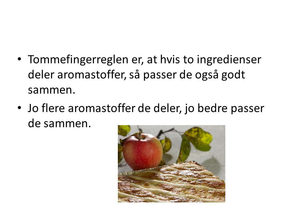 Tommefingerreglen er, at hvis to ingredienser deler aromastoffer, så passer de også godt sammen.