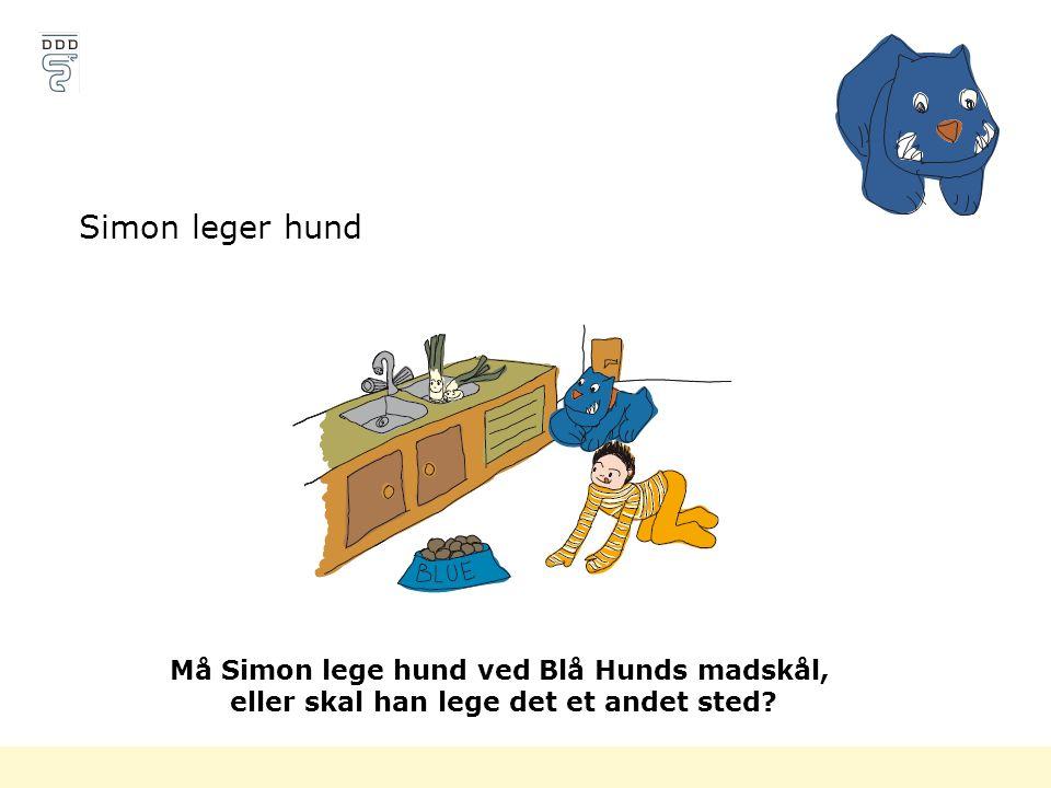 Simon leger hund Må Simon lege hund ved Blå Hunds madskål,