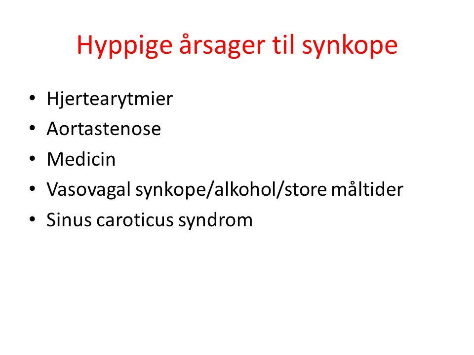 Hyppige årsager til synkope