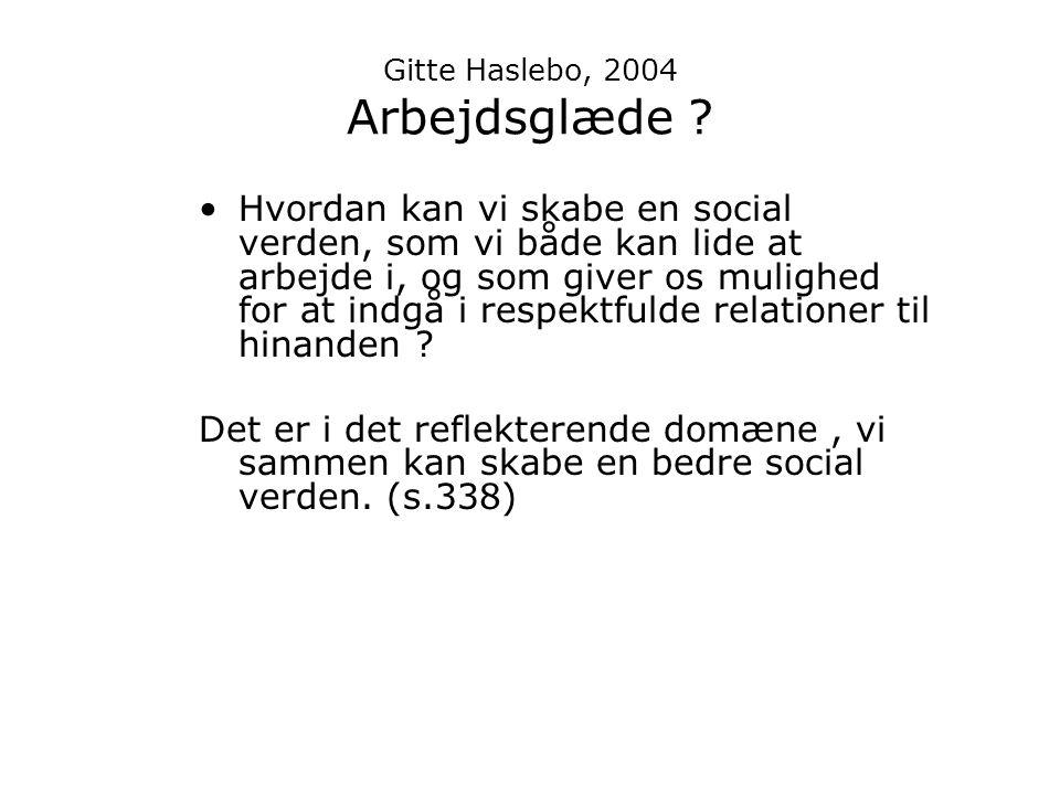 Gitte Haslebo, 2004 Arbejdsglæde