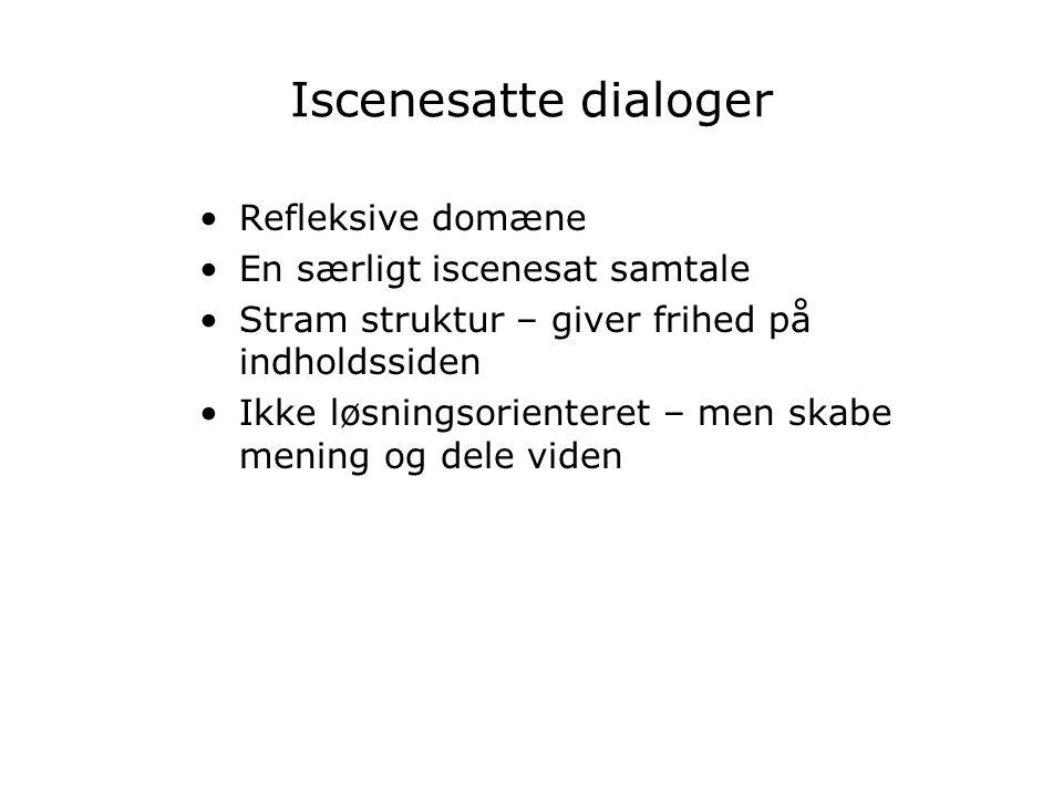 Iscenesatte dialoger Refleksive domæne En særligt iscenesat samtale