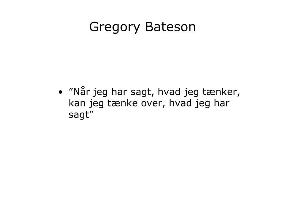 Gregory Bateson Når jeg har sagt, hvad jeg tænker, kan jeg tænke over, hvad jeg har sagt