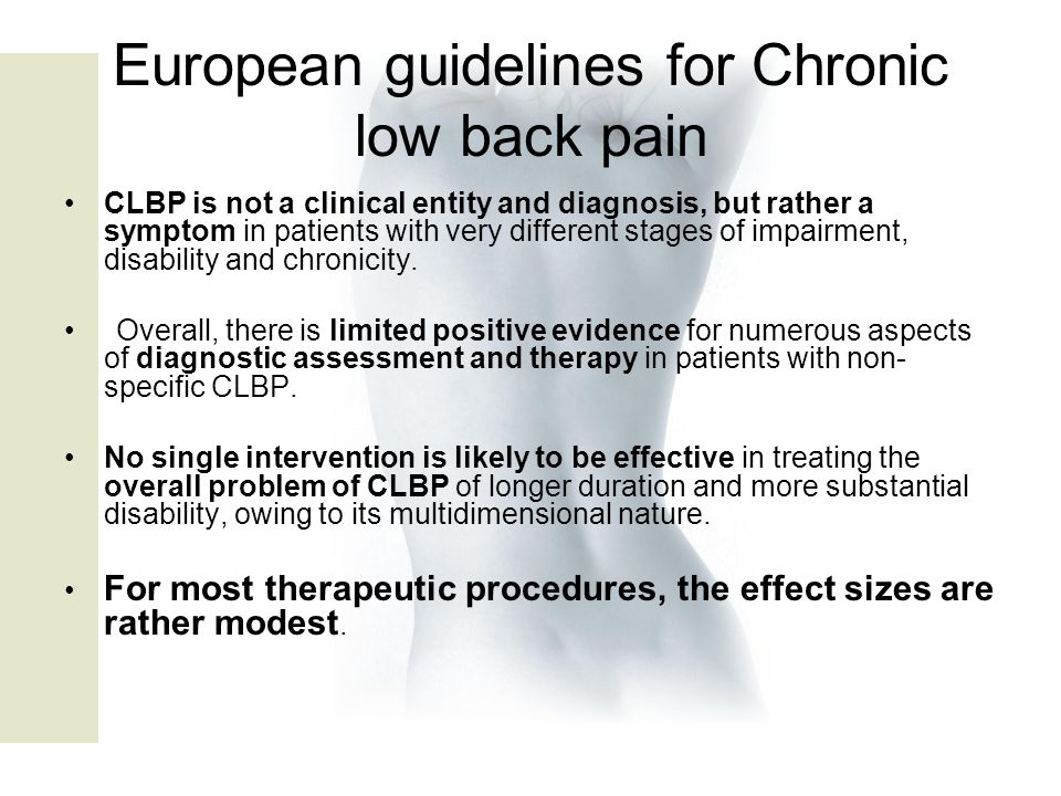European guidelines for Chronic low back pain