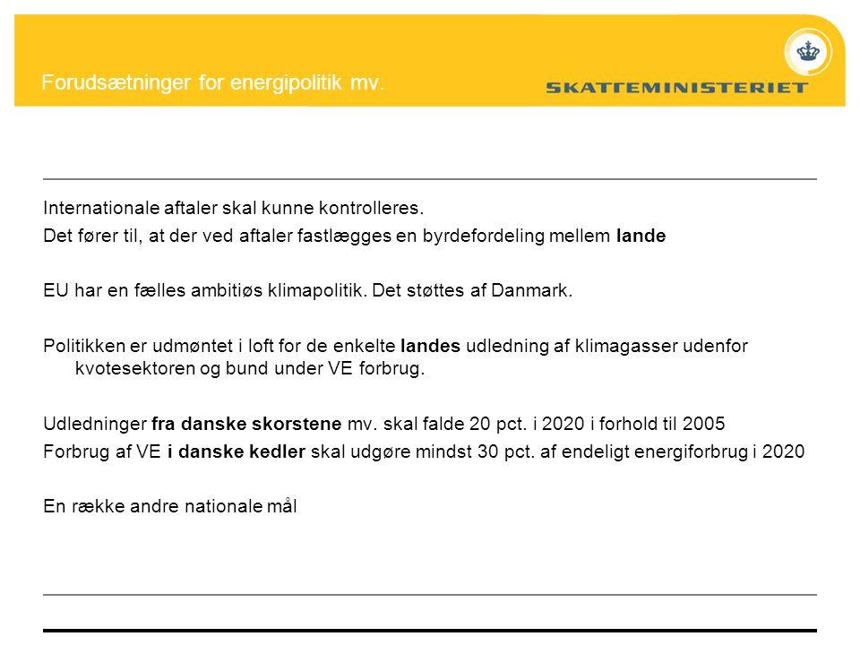 Forudsætninger for energipolitik mv.