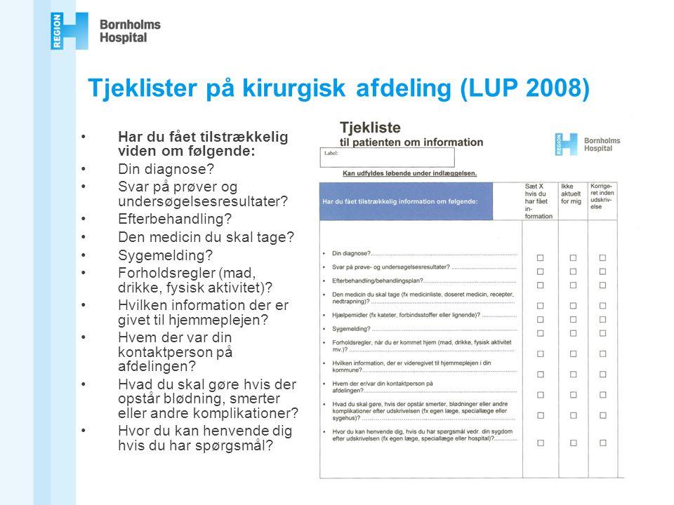 Tjeklister på kirurgisk afdeling (LUP 2008)