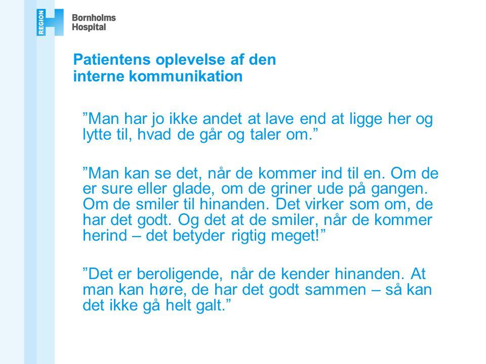 Patientens oplevelse af den interne kommunikation