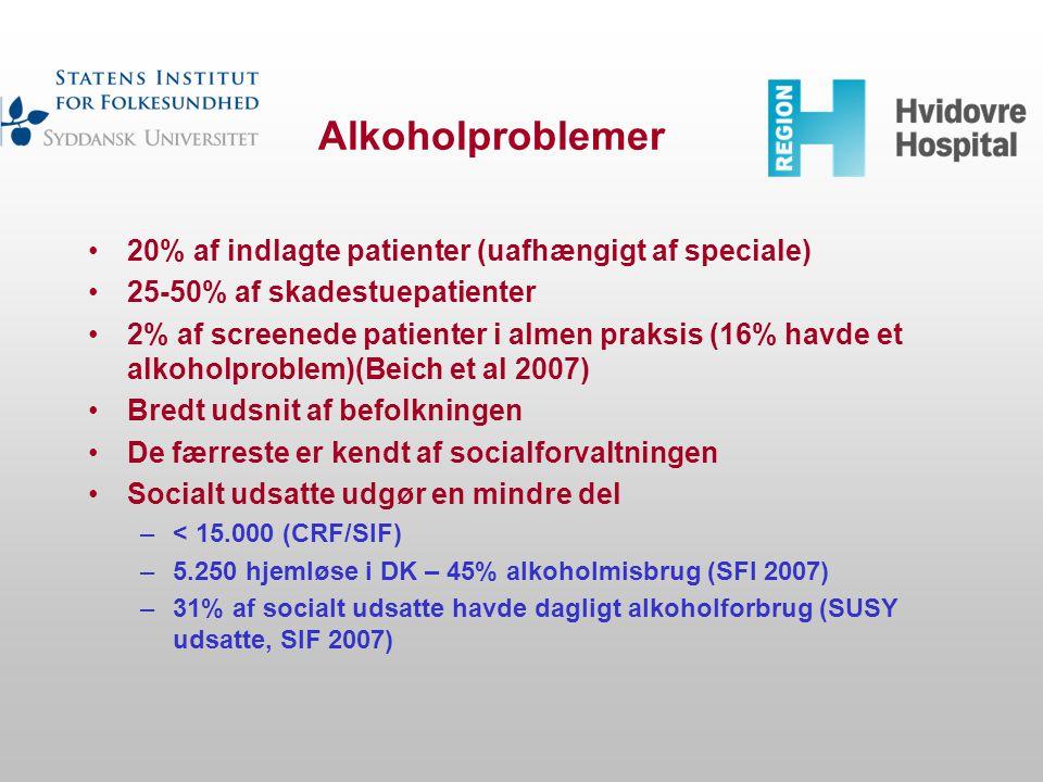 Alkoholproblemer 20% af indlagte patienter (uafhængigt af speciale)