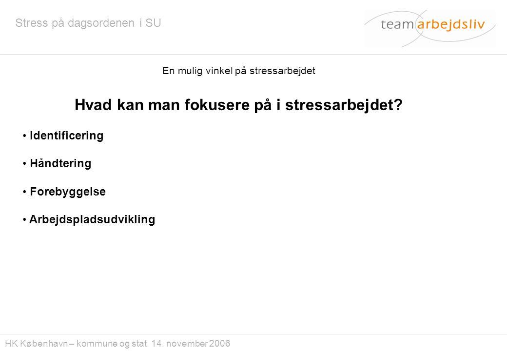Hvad kan man fokusere på i stressarbejdet