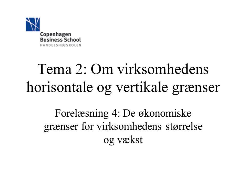 Tema 2: Om virksomhedens horisontale og vertikale grænser