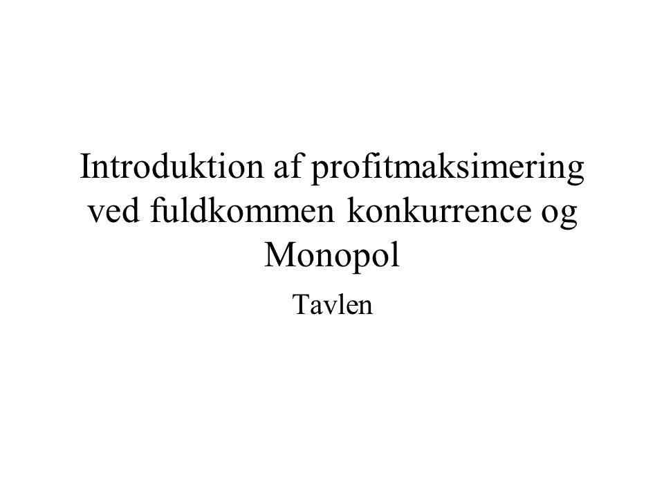 Introduktion af profitmaksimering ved fuldkommen konkurrence og Monopol