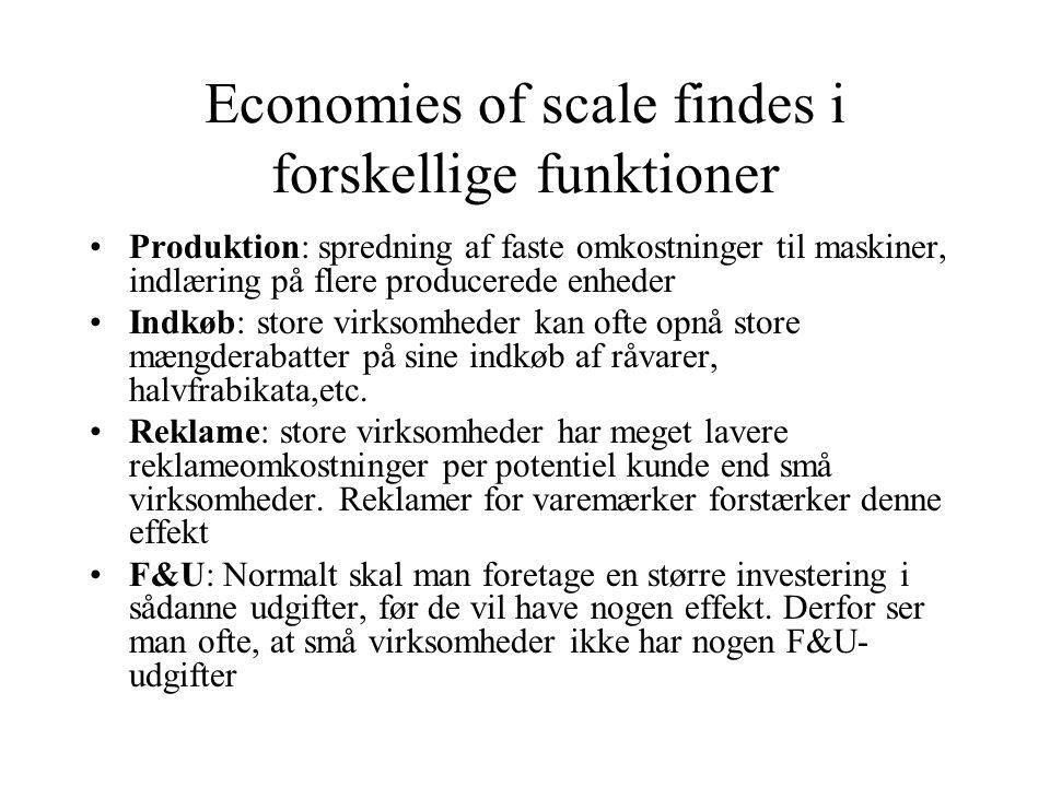 Economies of scale findes i forskellige funktioner