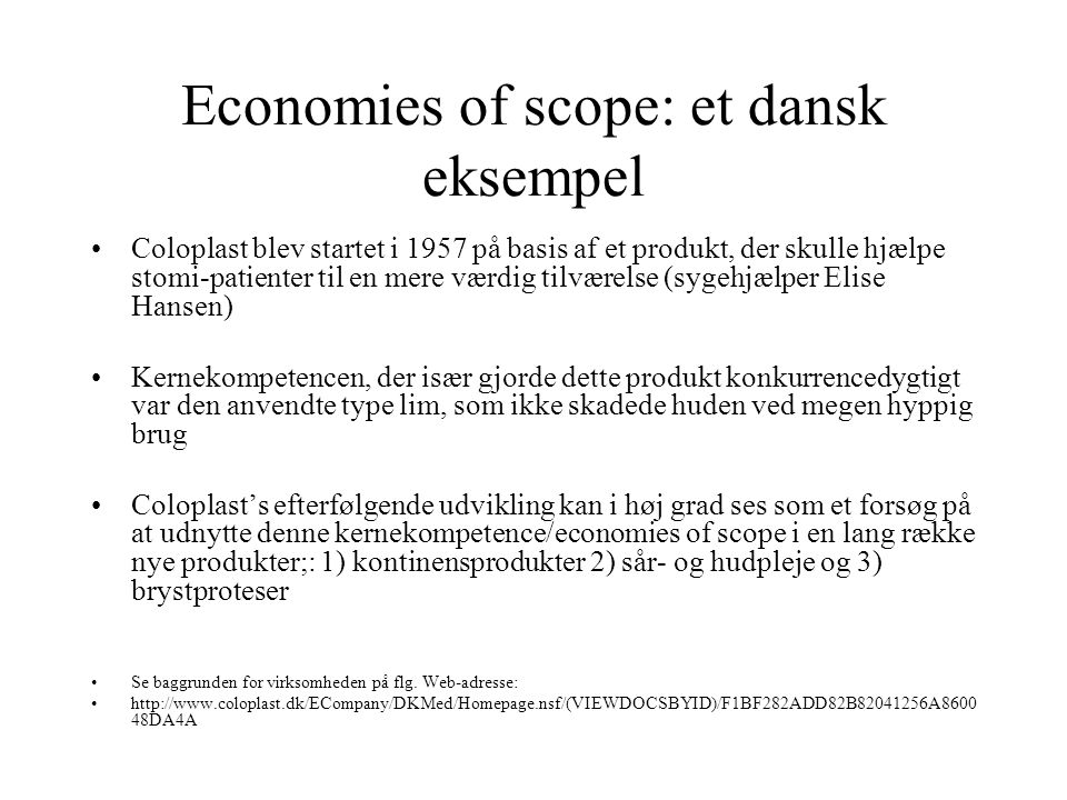 Economies of scope: et dansk eksempel
