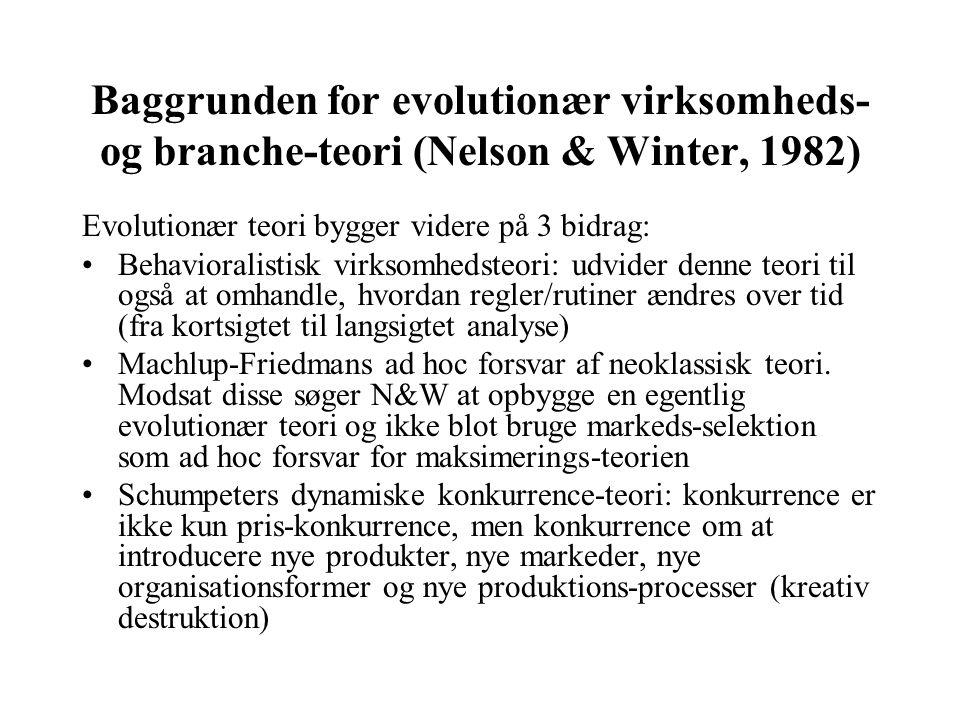 Baggrunden for evolutionær virksomheds- og branche-teori (Nelson & Winter, 1982)