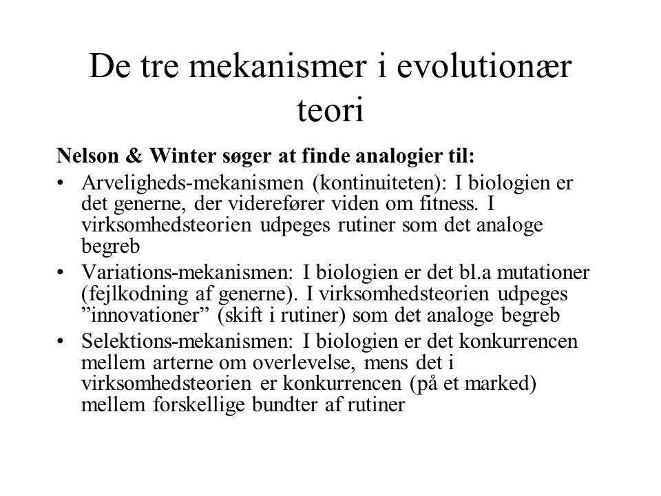 De tre mekanismer i evolutionær teori