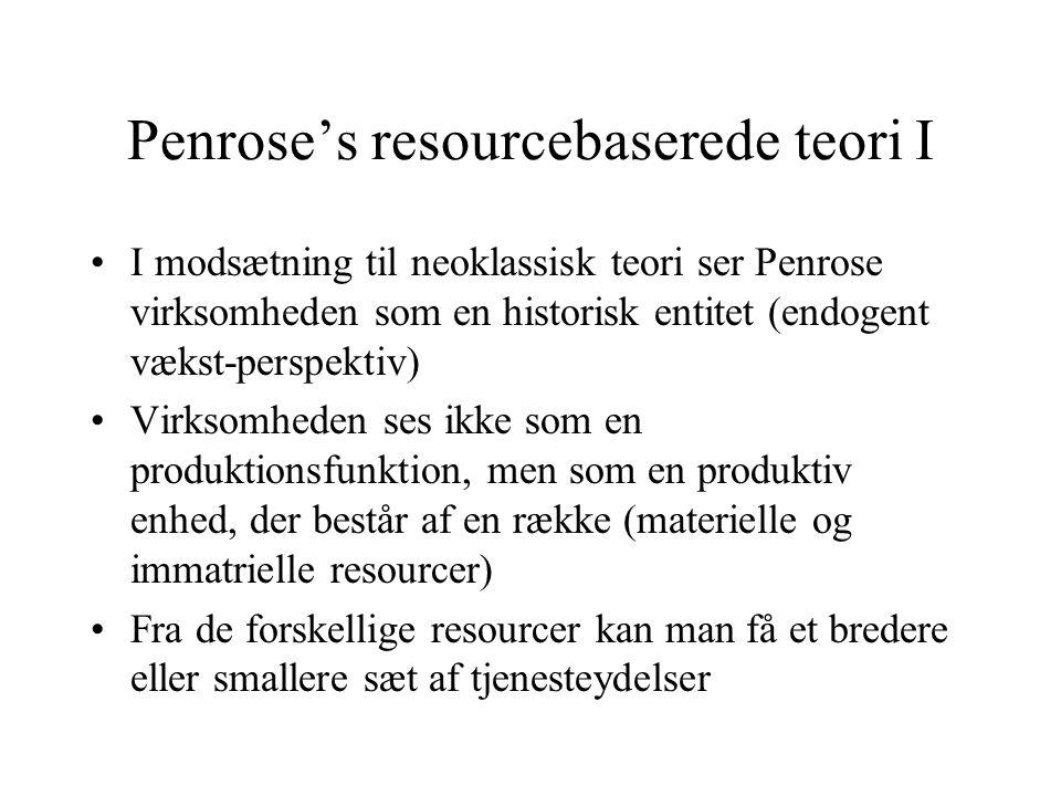 Penrose's resourcebaserede teori I