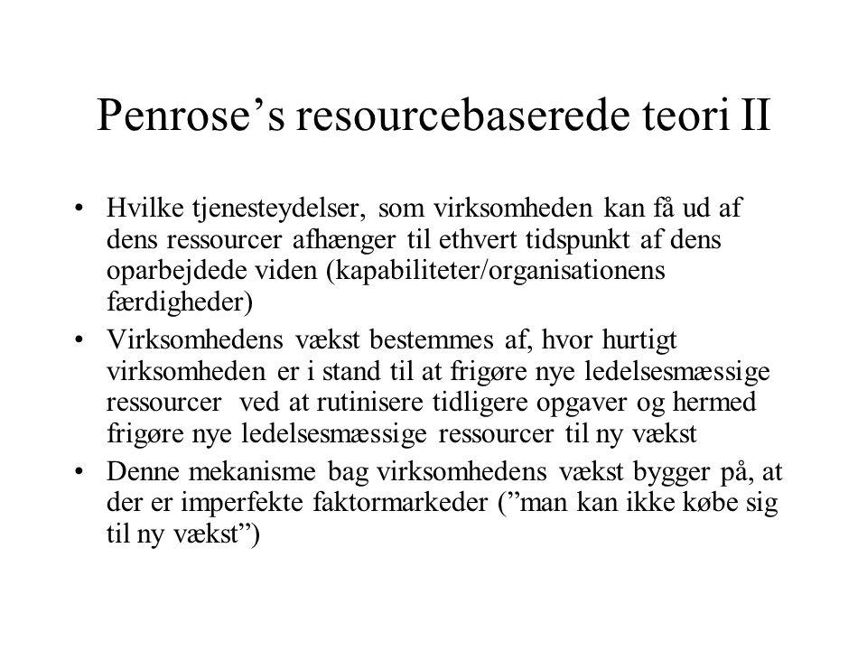 Penrose's resourcebaserede teori II