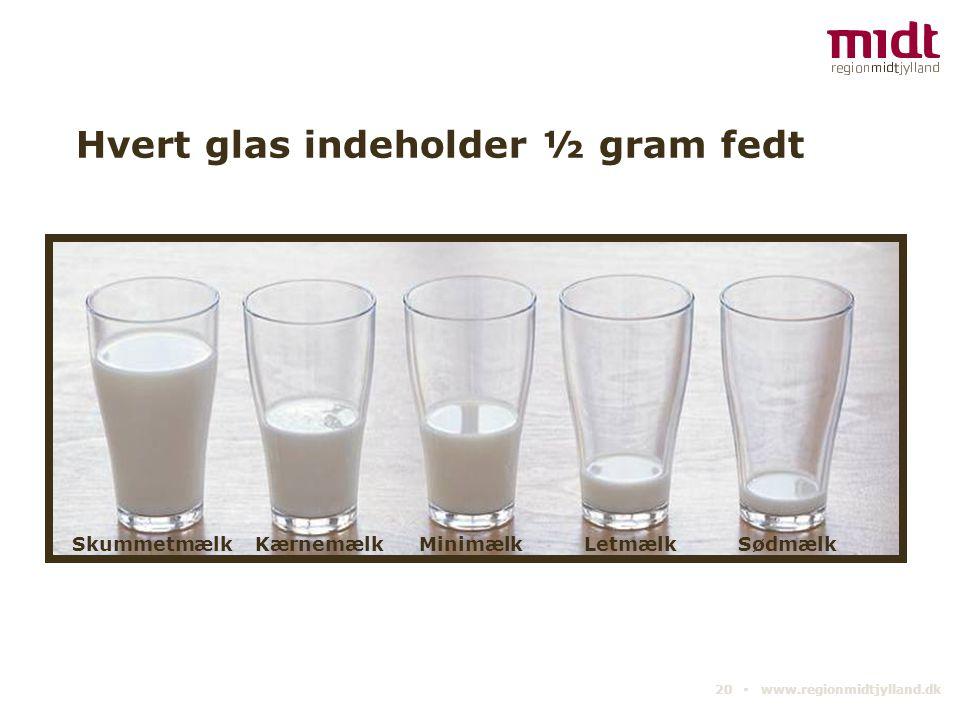 Hvert glas indeholder ½ gram fedt