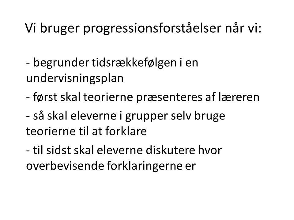 Vi bruger progressionsforståelser når vi: