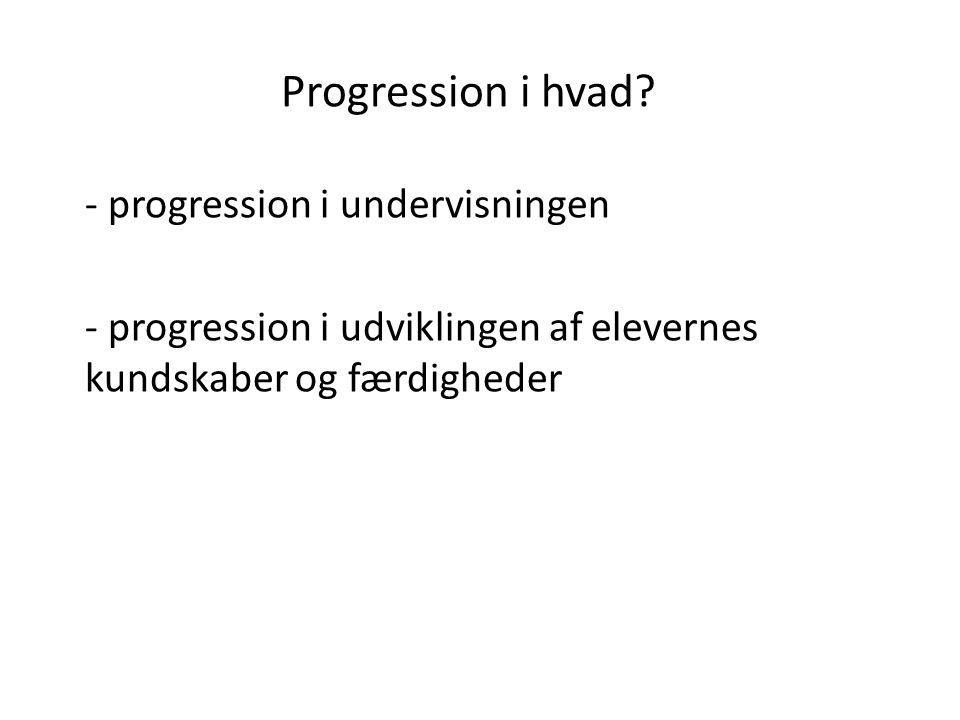 Progression i hvad progression i undervisningen