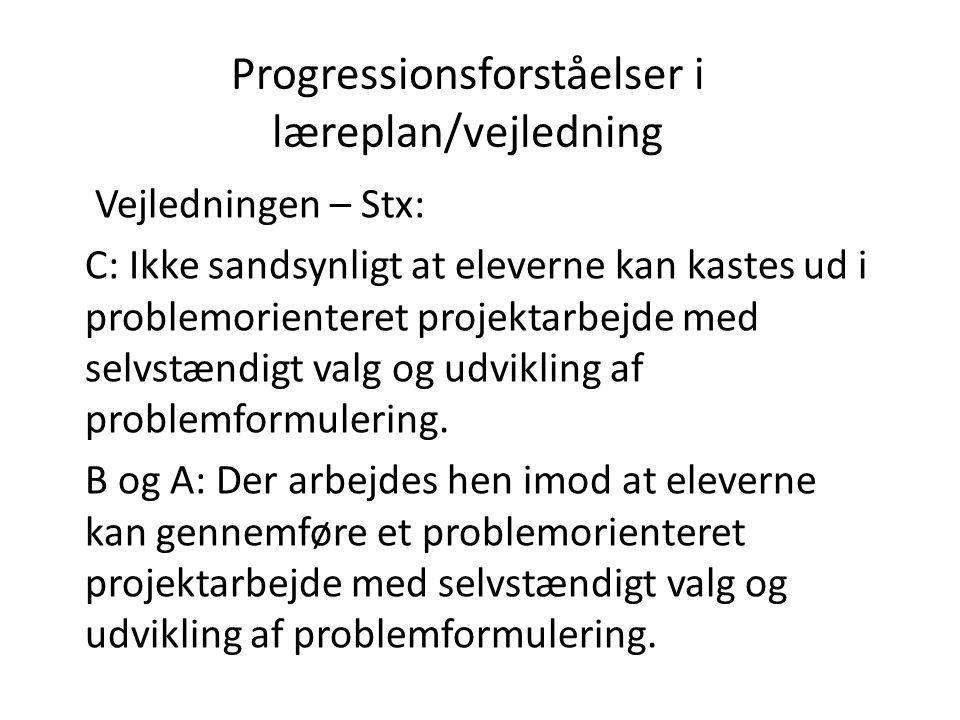 Progressionsforståelser i læreplan/vejledning
