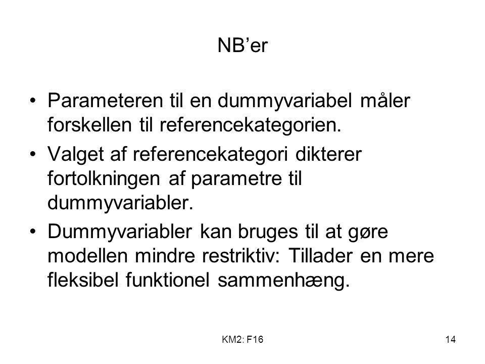 NB'er Parameteren til en dummyvariabel måler forskellen til referencekategorien.
