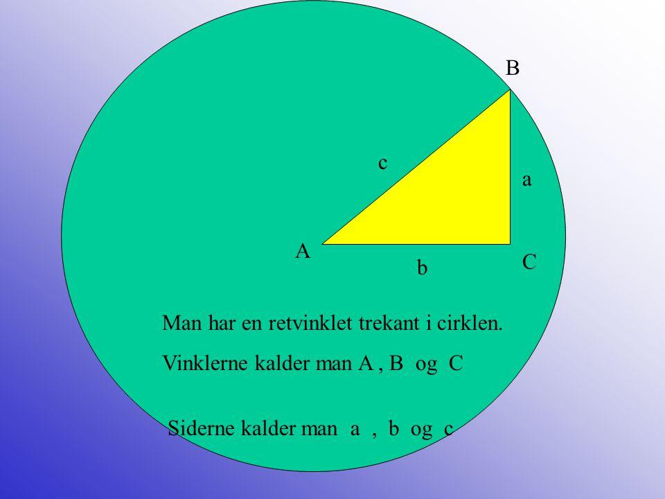 B c. a. A. C. b. Man har en retvinklet trekant i cirklen.