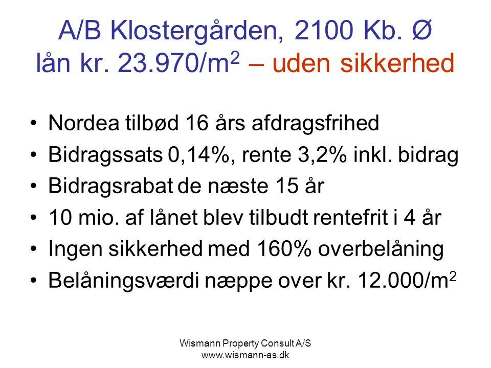 A/B Klostergården, 2100 Kb. Ø lån kr. 23.970/m2 – uden sikkerhed