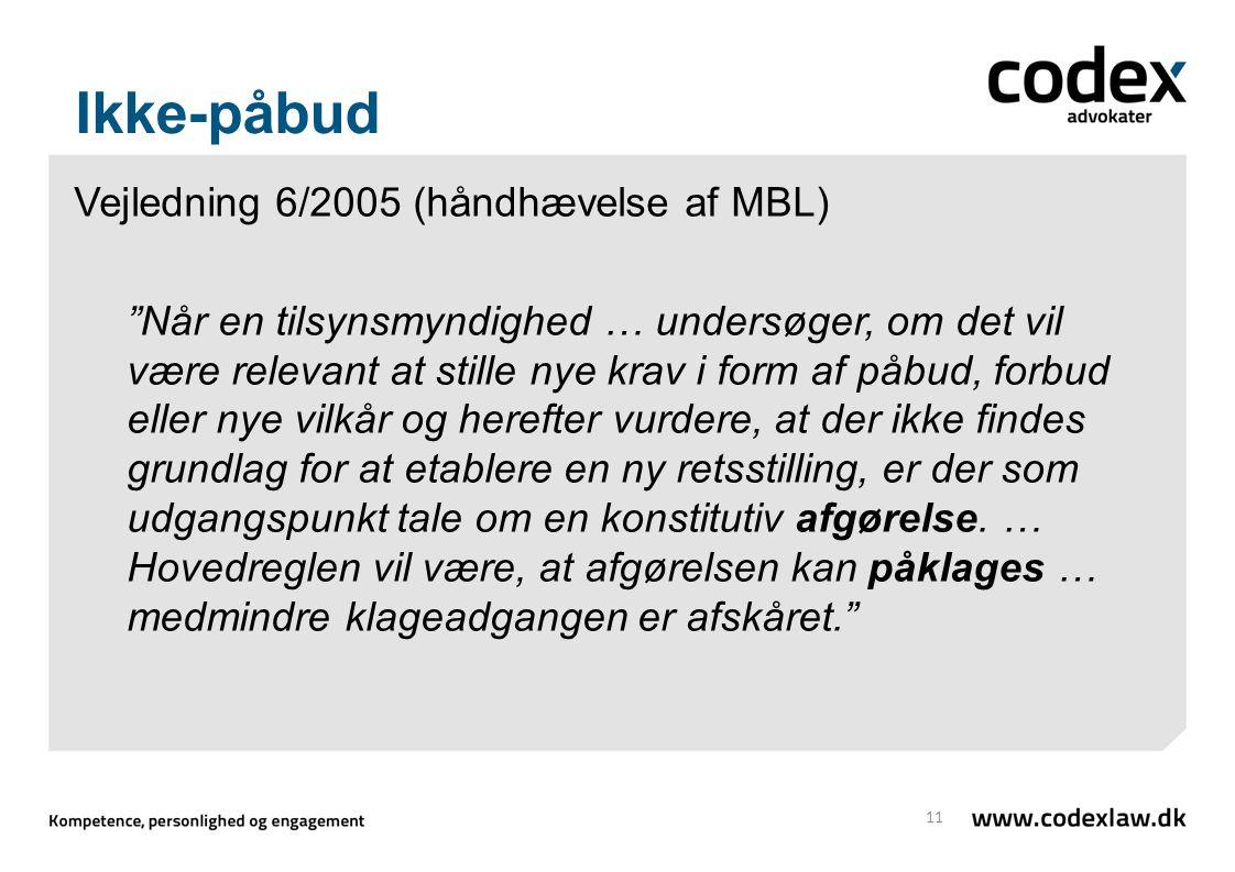 Ikke-påbud Vejledning 6/2005 (håndhævelse af MBL)