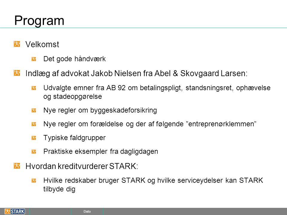 Program Velkomst. Det gode håndværk. Indlæg af advokat Jakob Nielsen fra Abel & Skovgaard Larsen: