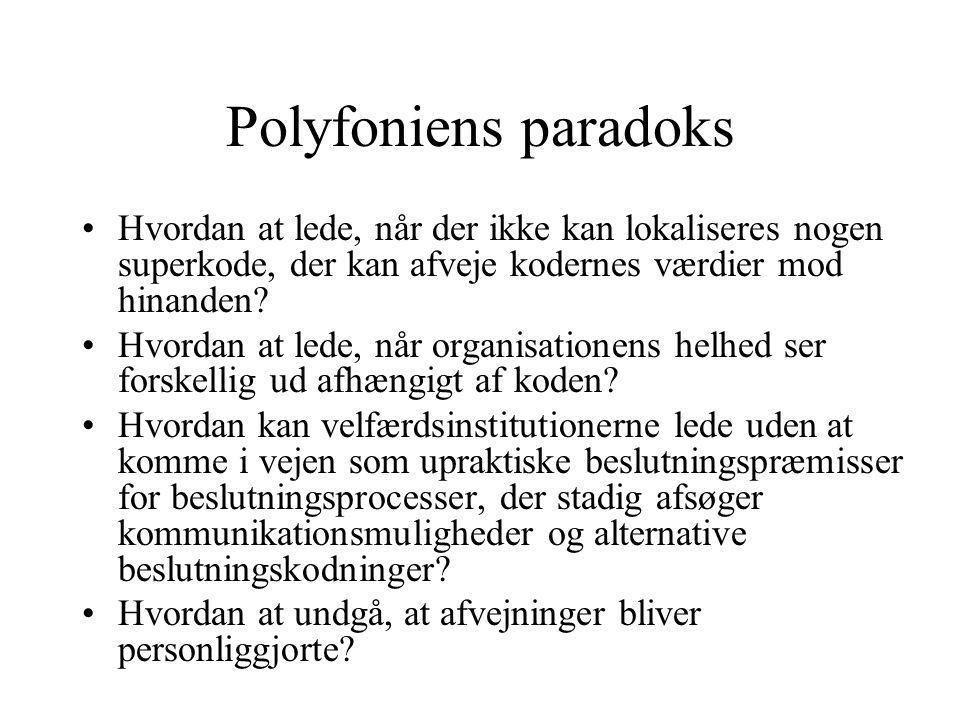 Polyfoniens paradoks Hvordan at lede, når der ikke kan lokaliseres nogen superkode, der kan afveje kodernes værdier mod hinanden