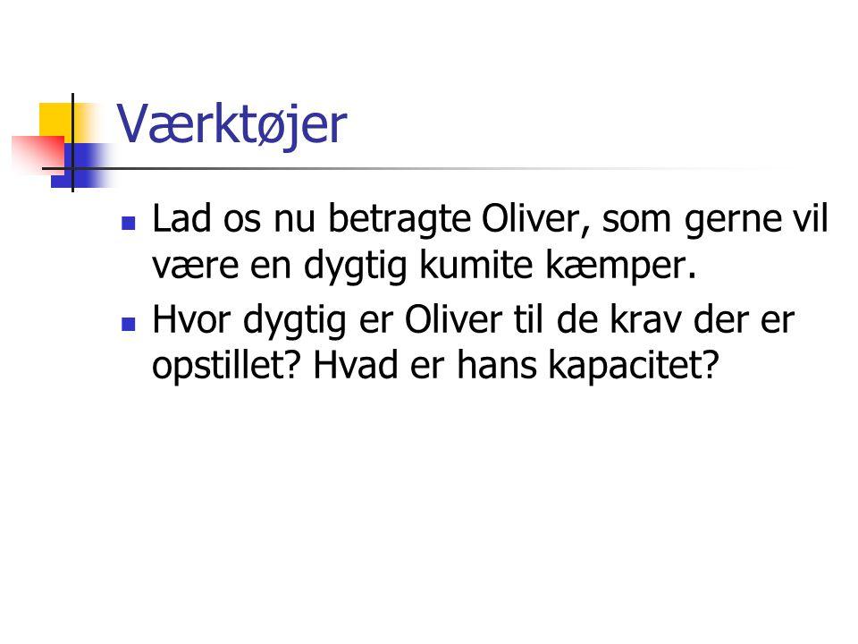 Værktøjer Lad os nu betragte Oliver, som gerne vil være en dygtig kumite kæmper.