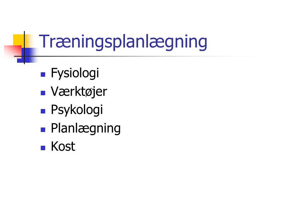 Træningsplanlægning Fysiologi Værktøjer Psykologi Planlægning Kost