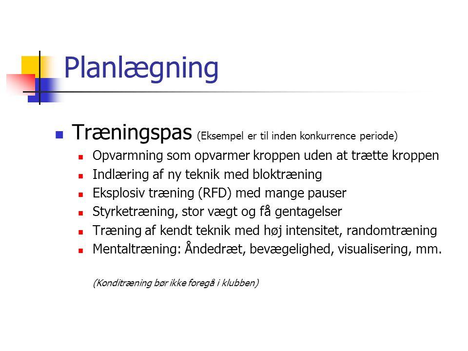 Planlægning Træningspas (Eksempel er til inden konkurrence periode)