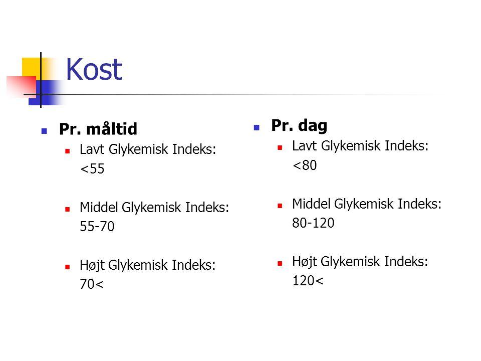 Kost Pr. dag Pr. måltid Lavt Glykemisk Indeks: Lavt Glykemisk Indeks: