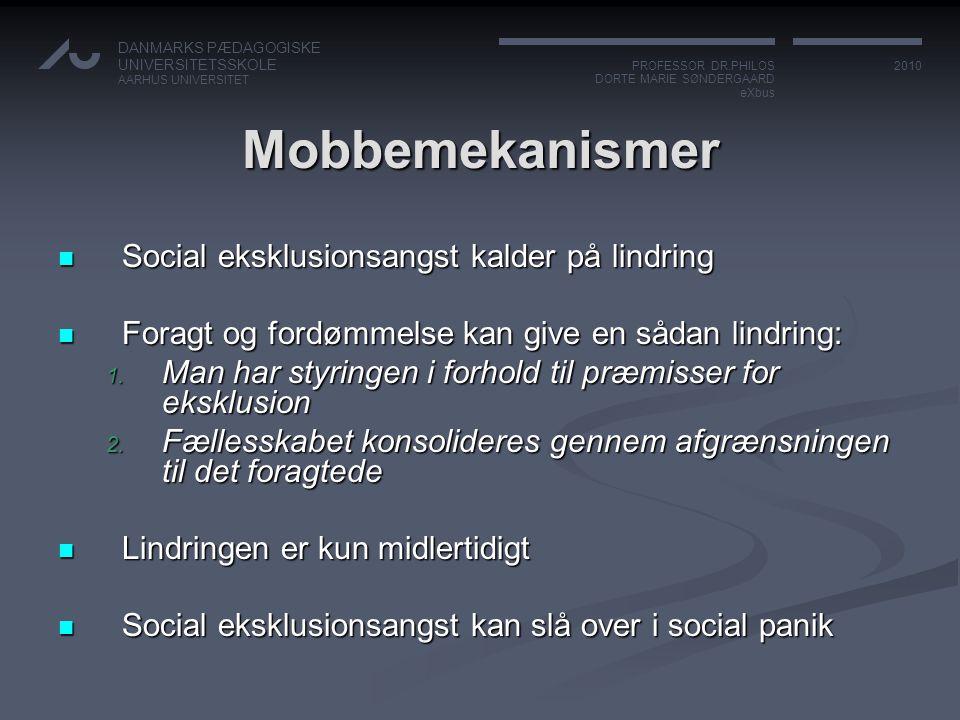 Mobbemekanismer Social eksklusionsangst kalder på lindring