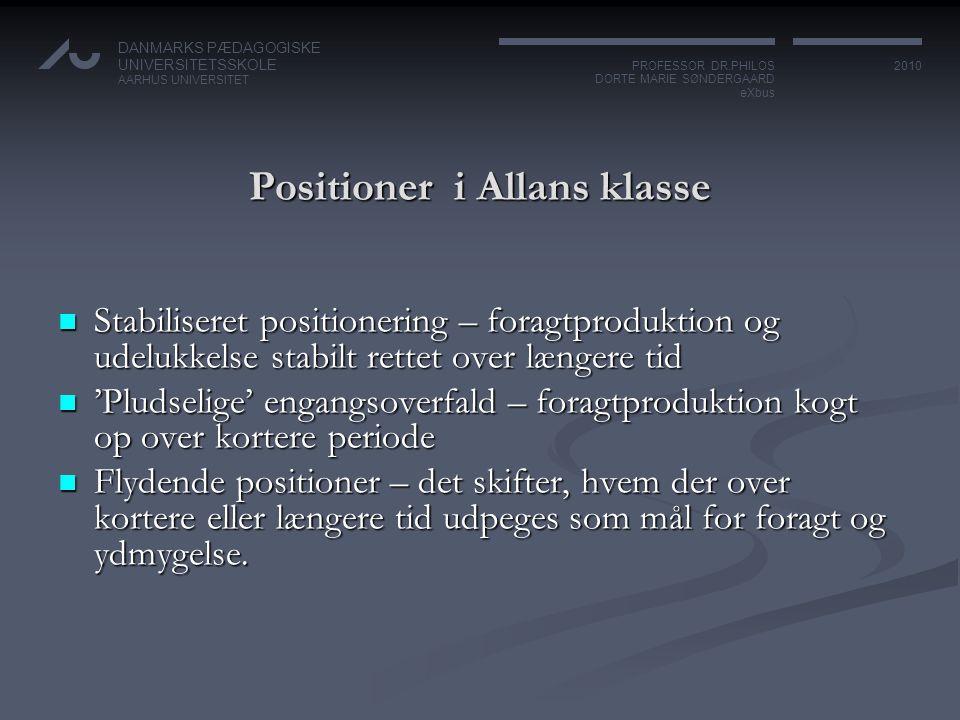 Positioner i Allans klasse