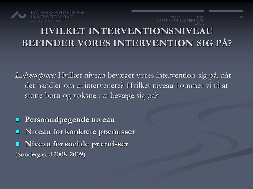 HVILKET INTERVENTIONSNIVEAU BEFINDER VORES INTERVENTION SIG PÅ