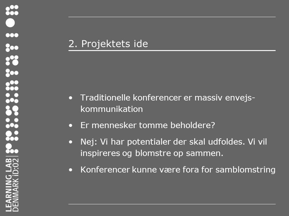 2. Projektets ide Traditionelle konferencer er massiv envejs-kommunikation. Er mennesker tomme beholdere