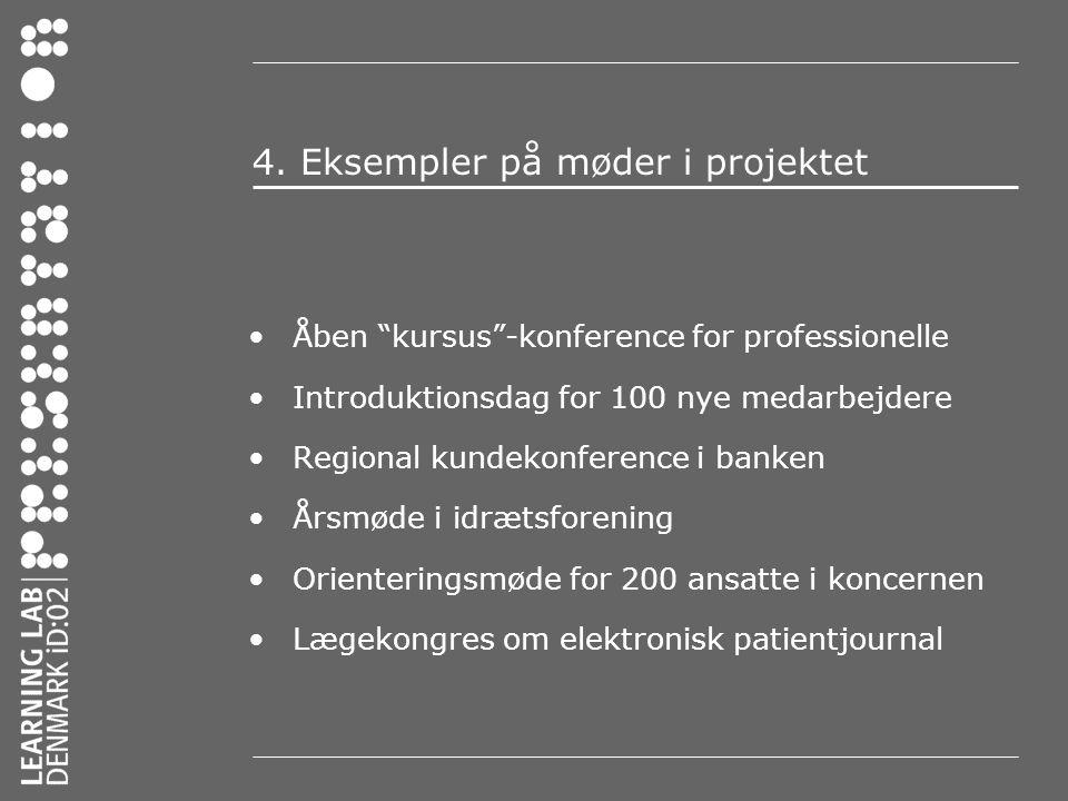 4. Eksempler på møder i projektet