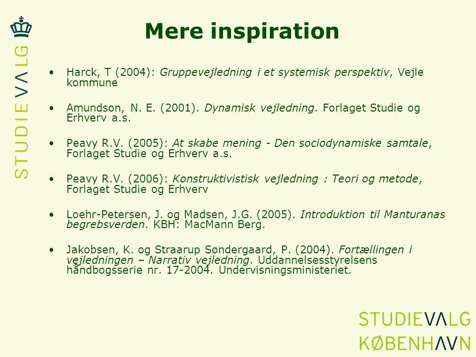 Mere inspiration Harck, T (2004): Gruppevejledning i et systemisk perspektiv, Vejle kommune.