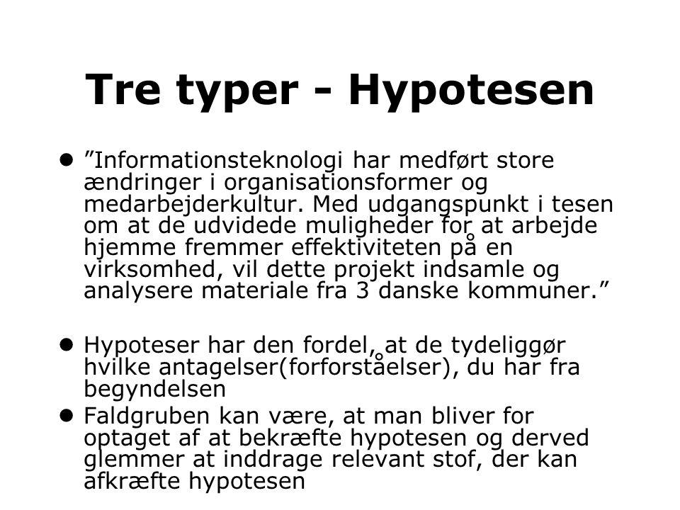 Tre typer - Hypotesen
