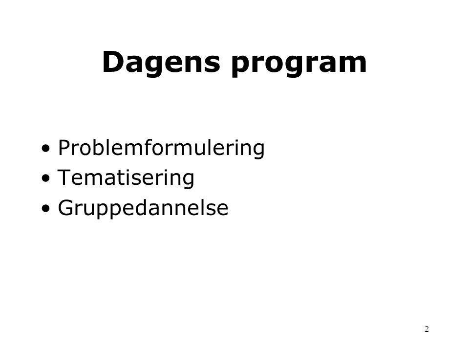 Dagens program Problemformulering Tematisering Gruppedannelse