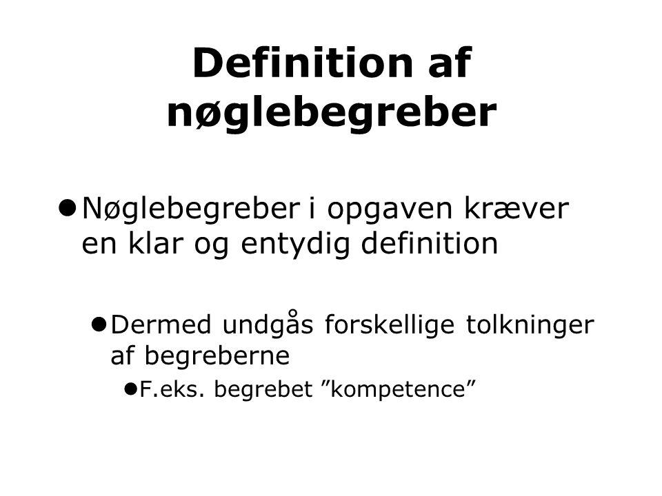 Definition af nøglebegreber